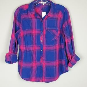 NWT Maurices Plaid Flannel Button Down